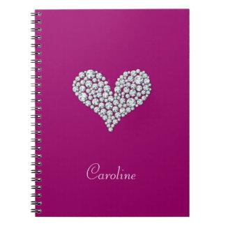 Girly Diamonds Heart Notebook
