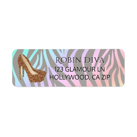 Girly Diva Rainbow Zebra Gold Glam High Heel Shoes