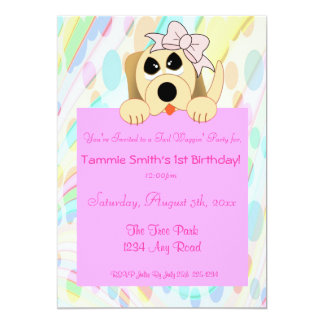 Girly Dog with Bow 1st Birthday Sign 13 Cm X 18 Cm Invitation Card