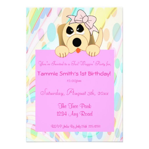 Girly Dog with Bow 1st Birthday Sign Personalized Announcement