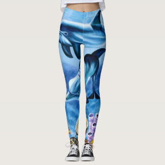 Girly Dolphins Coral Tropical Fish Painting Leggings