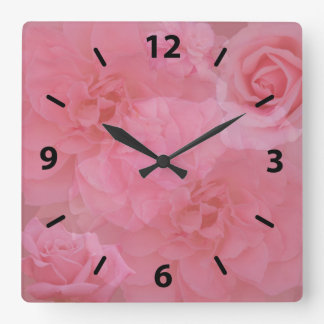 Girly Dreamy Floral Light Pink Rose Collage Square Wall Clock