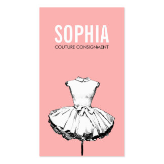 Girly Dress Pink Fashion Boutique Bold Typography Pack Of Standard Business Cards