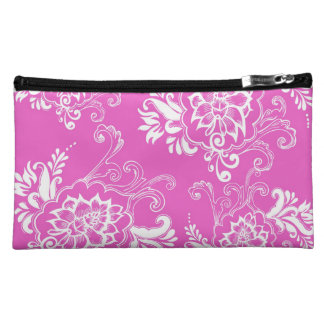 girly, elegant, classic, stylish lucky pink floral makeup bag