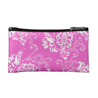 girly, elegant, classic, stylish lucky pink floral cosmetic bags