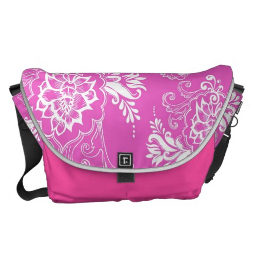girly, elegant, classic, stylish lucky pink floral courier bags