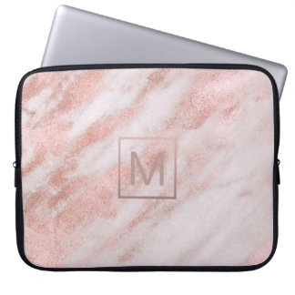 girly elegant monogram on rose gold marble computer sleeve
