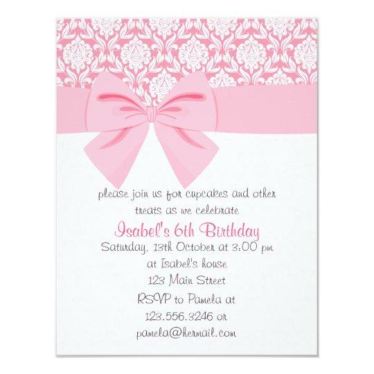 Girly Elegant Pink Damask Wrap Bow Birthday Party Card