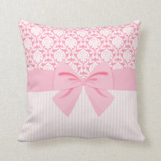 Girly Elegant Pink Damask Wrap Bow Cushion