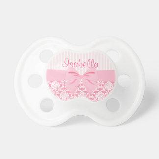 Girly Elegant Pink Damask Wrap Bow Personalized Dummy