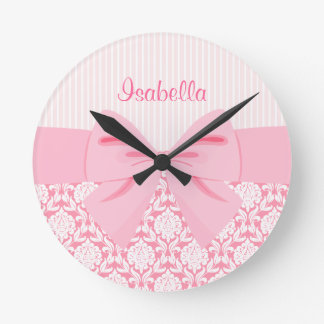 Girly Elegant Pink Damask Wrap Bow Personalized Round Clock