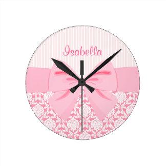 Girly Elegant Pink Damask Wrap Bow Personalized Wallclocks