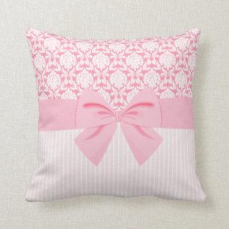 Girly Elegant Pink Damask Wrap Bow Throw Pillow