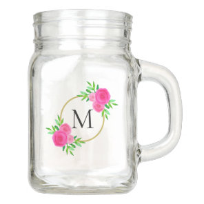 Girly Elegant Pink Watercolor Chic Floral Monogram Mason Jar