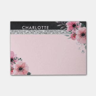 Girly Elegant Watercolor Flowers | Monogram Pink Post-it Notes