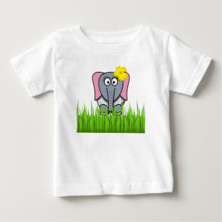 Girly Elephant In The Grass Baby T-Shirt