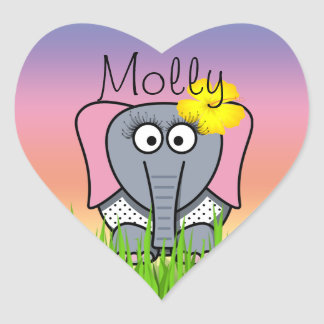 Girly Elephant In The Grass Heart Sticker