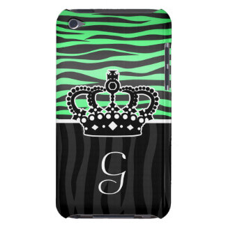 Girly emerald green and black zebra print monogram barely there iPod cases