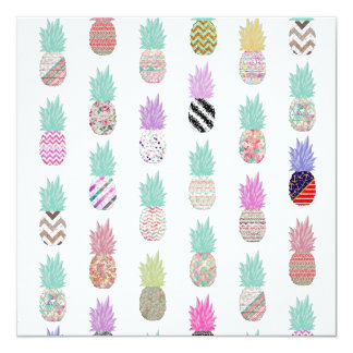 Girly Exotic Pineapple Aztec Floral Pattern 13 Cm X 13 Cm Square Invitation Card