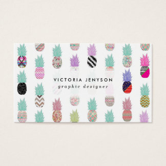 Girly Exotic Pineapple Aztec Floral Pattern Business Card