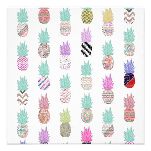 Girly Exotic Pineapple Aztec Floral Pattern Personalized Invitation