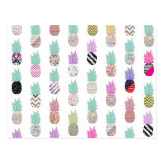 Girly Exotic Pineapple Aztec Floral Pattern Postcard