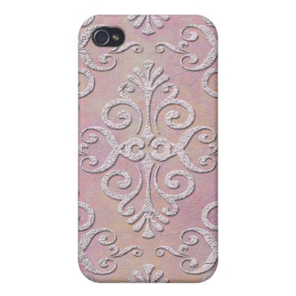 Girly Fancy Pink Damask Pattern iPhone 4 Case