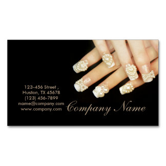 girly fashion beauty SPA nail artist nail salon Magnetic Business Cards