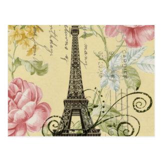 girly fashion paris eiffel tower vintage postcard