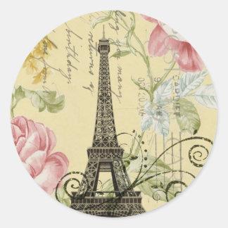 girly fashion paris eiffel tower vintage round sticker