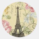 girly fashion paris eiffel tower vintage round stickers