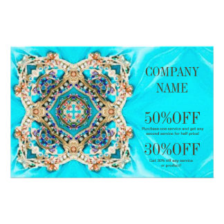 girly fashion turquoise Embellishments bohemian 14 Cm X 21.5 Cm Flyer