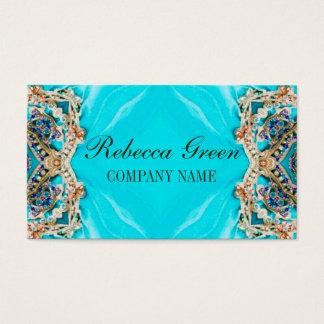 girly fashion turquoise Embellishments bohemian Business Card