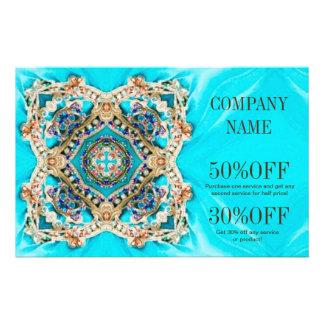 girly fashion turquoise Embellishments bohemian 14 Cm X 21.5 Cm Flyer