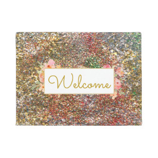girly faux glitter effect welcome doormat