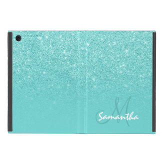 Girly faux glitter ombre teal block monogram case for iPad mini