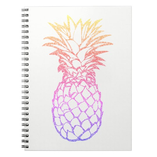 Girly Faux Glitter Pineapple White Spiral Notebook