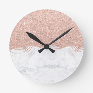 Girly faux glitter rose gold brushstrokes marble round clock