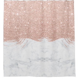 pink and gold shower curtain. Girly faux glitter rose gold brushstrokes marble shower curtain Faux Gold Glitter Shower Curtains  Zazzle co uk