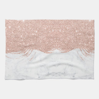 Girly faux glitter rose gold brushstrokes marble tea towel