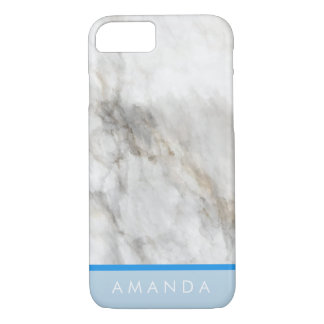 girly Faux gold Marble hot blue line your name iPhone 8/7 Case