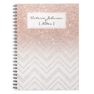 Girly faux rose gold glitter ombre modern chevron notebooks