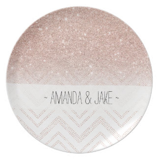 Girly faux rose gold glitter ombre modern chevron plate