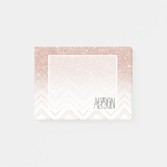 Girly faux rose gold glitter ombre modern chevron