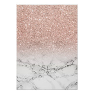 Girly faux rose pink glitter ombre white marble poster
