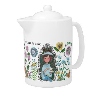 Girly Field Flowers Floral Birds | Tea Pot
