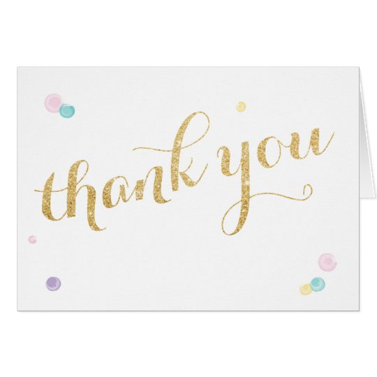 Girly First Birthday Thank You Card
