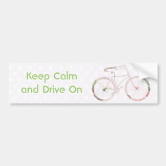 Girly Floral Bicycle Bumper Sticker