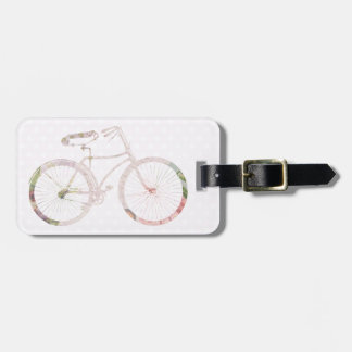 Girly Floral Bicycle Luggage Tag