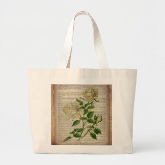 girly floral botanical art vintage white rose bags